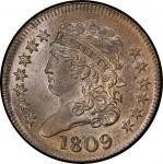 1809 Classic Head Half Cent. Cohen-4, Breen-1. Rarity-2. Circle In Zero. Mint State-66 BN (PCGS).