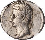 AUGUSTUS, 27 B.C.- A.D. 14. AR Denarius (3.43 gms), Spanish Mint, ca. 19-18 B.C.NGC Ch F, Strike: 5