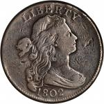 1802 Draped Bust Cent. S-228. Rarity-2. Fraction 1/000. Fine-12 Cleaned.