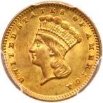1874 $1 Gold Indian. PCGS AU58
