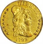 1799 Capped Bust Right Half Eagle. BD-2. Rarity-5+. Small Reverse Stars. AU Details--Plugged (PCGS).