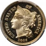 1869 Nickel Three-Cent Piece. Proof-67 Deep Cameo (PCGS).