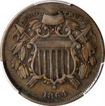 1864 Two-Cent Piece. FS-401. Small Motto. VF-30 (PCGS).