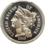 1868 Nickel Three-Cent Piece. Proof-66 Cameo (PCGS). CAC.