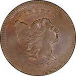 1795 Liberty Cap Half Cent. Cohen-6a. Rarity-2. Plain Edge, No Pole. Overstruck on a Talbot, Allum &