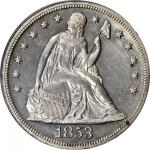 1853 Liberty Seated Silver Dollar. Restrike. Proof-61 (PCGS).