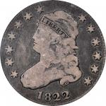 1822 Capped Bust Quarter. B-2. Rarity-5. 25/50 C. VG-10 (PCGS). CAC.