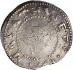 1652 Oak Tree Shilling. Noe-12. Salmon 9a-Fii. W-510. Rarity-6. IN at Bottom. VF Details--Graffiti (