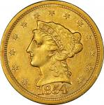 1854-S Liberty Head Quarter Eagle. AU-50 (PCGS).