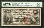 New Paltz, New York. $10 1882 Brown Back. Fr. 480. The Huguenot NB. Charter #1186. PMG Extremely Fin