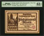 DANZIG. Senate of the Municipality - Free City. 50,000 Mark, 1923. P-20. PMG Choice Uncirculated 63