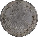 COLOMBIA. 8 Reales, 1814/3-P JF. Popayan Mint. Ferdinand VII. NGC VF-35.