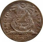 1787 Fugio copper. Newman 13-X, W-6855. Rarity-2. Pointed Rays, STATES UNITED. MS-64 BN (PCGS).