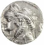 ELYMAIS: Kamnaskires III & Queen Anzaze, ca. 82-72 BC, AR tetradrachm (13.78g), ND, Van t Haaff-7.1,
