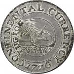 "1776 Continental ""dollar."" Newman 2-C, W-8455. Rarity-3. CURRENCY. Pewter. MS-62+ (PCGS)."