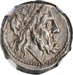 ROMAN REPUBLIC. Anonymous. AR Victoriatus (3.39 gms), Rome Mint, After 211 B.C. NGC Ch AU, Strike: 4