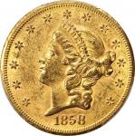1858-S Liberty Head Double Eagle. MS-60 (PCGS). CAC.