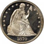 1870 Liberty Seated Silver Dollar. Proof-65 Cameo (PCGS).