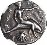 ITALY. Calabria. Tarentum. AR Didrachm (8.20 gms), ca. 460-443 B.C. NGC Ch VF, Strike: 4/5 Surface: