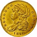 1810 Capped Bust Left Half Eagle. BD-1. Rarity-3+. Small Date, Tall 5. MS-63 (PCGS).