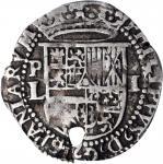 BOLIVIA. Cob Real, ND (1578-82)-P L. Potosi Mint. Philip II. PCGS Genuine--Holed, EF Details Gold Sh