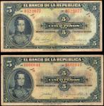 COLOMBIA. Lot of (2). Banco de la Republica. 5 Pesos, 1926-28. P-373a & 373b. Very Fine.