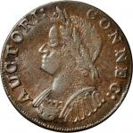 1786 Connecticut copper. Miller 5.4-O.1, W-2590. Rarity-2. Mailed Bust Left. AU-53 (PCGS).