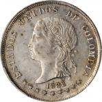 COLOMBIA. 50 Centavos, 1882. Bogota Mint. PCGS MS-61 Gold Shield.