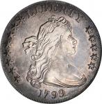 1799 Draped Bust Silver Dollar. BB-159, B-23. Rarity-4. Stars 8x5. EF-45 (PCGS).