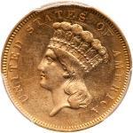 1856-S $3 Gold. PCGS AU