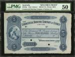 AUSTRALIA. Commercial Banking Company of Sydney Limited. 5 Pounds, 1892-93. P-Unlisted. Specimen Pro