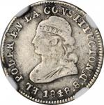 ECUADOR. 1/2 Real, 1848-QUITO GJ. Quito Mint. NGC FINE-12.