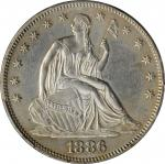 1886 Liberty Seated Half Dollar. WB-101. AU-55 (PCGS).