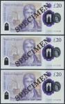 Bank of England, Sarah John, polymer £20, ND (20 February 2020), serial number AA01 000428/528/628,