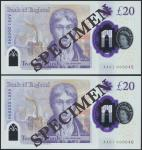 Bank of England, Sarah John, polymer £20, ND (20 February 2020), serial number AA01 000045/46, purpl