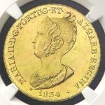 """PORTUGAL ポ儿トガ儿 4Escudos(Peca) 1834 NGC-UNC Details""""Obv.Scratched"""" 肖像面フィー儿ドに軽いスクラッチ1本ある以外 AU"""