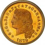 1879 Four-Dollar Gold Stella. Flowing Hair. Judd-1635, Pollock-1833. Rarity-3. Gold. Reeded Edge. Pr