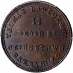BARBADOS. Thomas Lawlor & Co. Copper Farthing Token, ND (ca. 1850). PCGS MS-63 Brown Gold Shield.