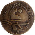1787 New Jersey Copper. Maris 56-n, W-5310. Rarity-1. Camel Head--Overstruck on a 1787 Miller 33.28-
