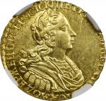 RUSSIA. Gold 2 Rubles Novodel (Pattern), 1727. Peter II. NGC MS-62.