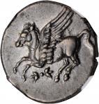 ITALY. Bruttium. Lokroi Epizephyrioi. AR Stater (8.56 gms), ca. 350-275 B.C. NGC AU, Strike: 5/5 Sur