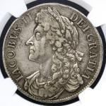 GREAT BRITAIN James II ジェームス2世(1685~88) Crown 1686 NGC-XF40 VF+