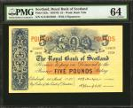 SCOTLAND. Royal Bank of Scotland. 5 Pounds, 1957. P-323c. PMG Choice Uncirculated 64.