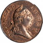 1773 Virginia Halfpenny. Newman 27-J, W-1585. Rarity-2. Period After GEORGIVS, 7 Harp Strings. MS-64