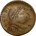 1787 Connecticut Copper. Miller 1.2-C, W-2720. Rarity-3. Mailed Bust Right, Muttonhead, Topless Libe