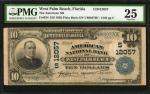 West Palm Beach, Florida. $10 1902 Plain Back. Fr. 634. The American NB. Charter #12057. PMG Very Fi
