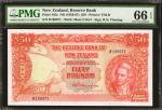 NEW ZEALAND. Reserve Bank of New Zealand. 50 Pounds, ND (1956-67). P-162c. PMG Gem Uncirculated 66 E