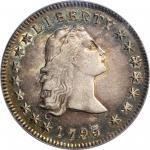 1795 Flowing Hair Silver Dollar. BB-27, B-5. Rarity-1. Three Leaves. AU-55 (PCGS).