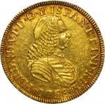 COLOMBIA. 1758-J 4 Escudos. Santa Fe de Nuevo Reino (Bogotá) mint. Ferdinand VI (1746-1759). Restrep
