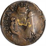 Undated (ca.1663-1672) St. Patrick Farthing. Breen-208, W-11500. Copper. Nothing Below King. VG-10 (